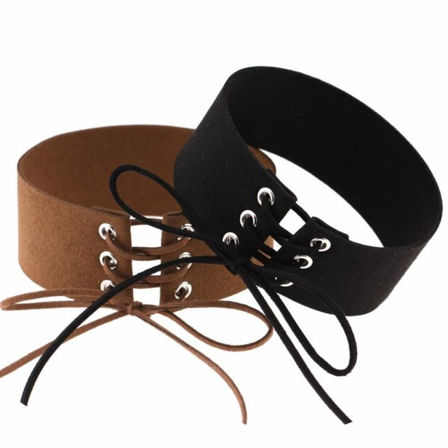Lace up Velvet Choker