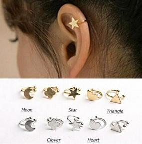 Clip Earrings With Shape Of Moon, Heart, Star
