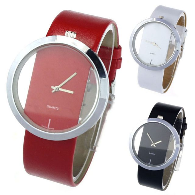 Women's Silver Watch with Leather Bracelet and Transparent Dial