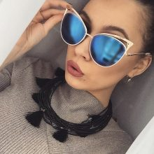 Cat Eye Women Gold Sunglasses