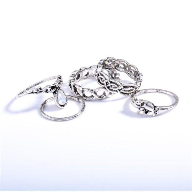 Fashion Boho Vintage Gold and Silver Ring Set 10 pcs