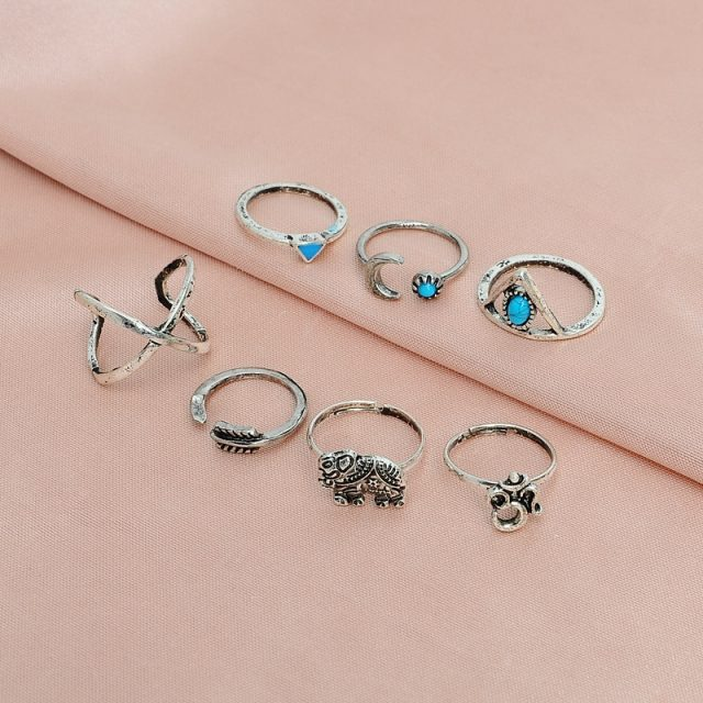 7PCS Bohemian Vintage Turquoise Arrow Midi Finger Rings