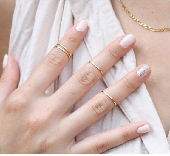 Simple Gold/Silver/Rose Gold Midi Rings (5pcs)