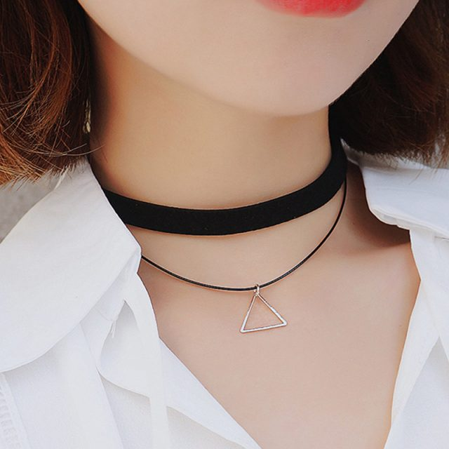 Multilayer Choker Necklace with Triangle Pendant