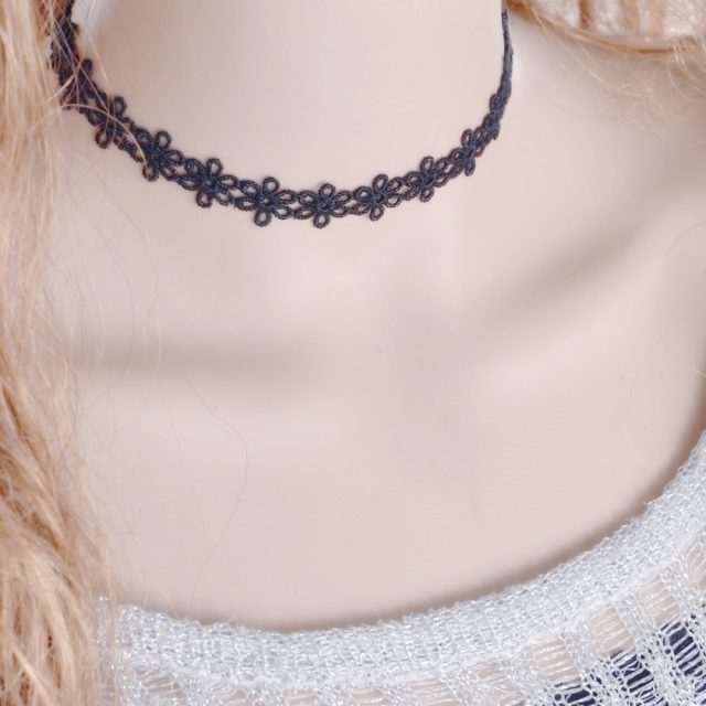 Floral Elegant Black Lace Choker For Women