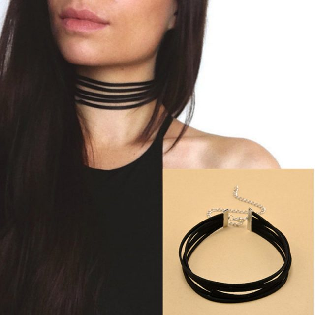 Black Velvet Choker Necklace with 5 layers