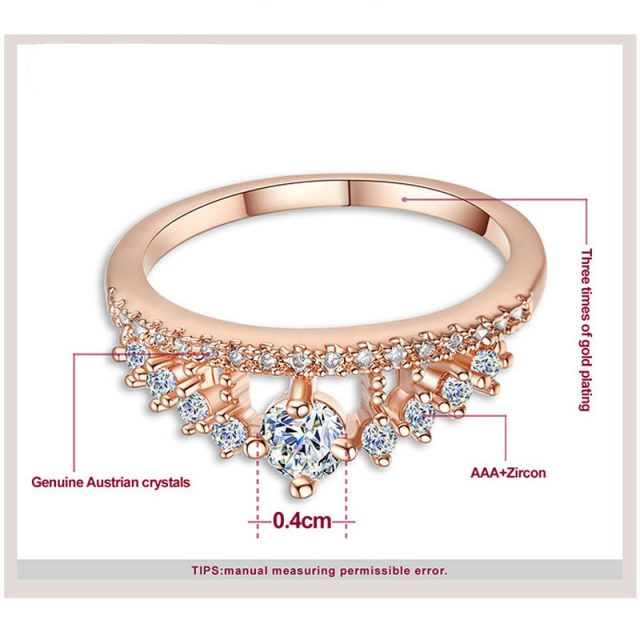 Crystal Rhinestone Crown Silver Plated Ring