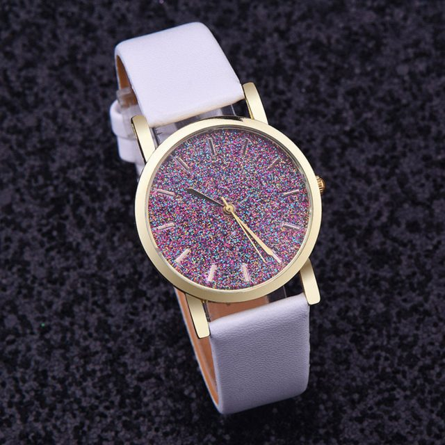 Rhinestone Leather Strap Watch