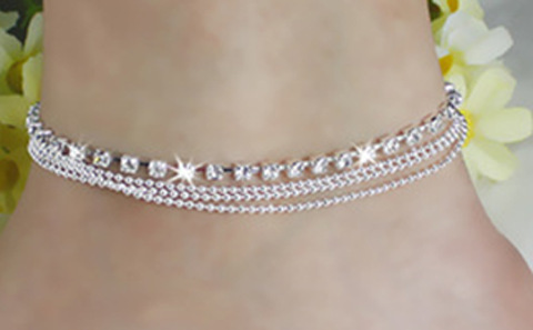 Multilayer Rhinestone Anklet