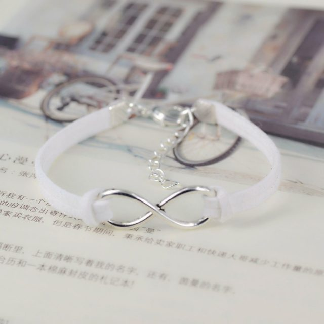 Silver Plated Infinity Leather Rope Bangles Bracelet
