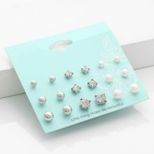 Crystal Simulated Pearl Stud Earrings 9 Pairs/set