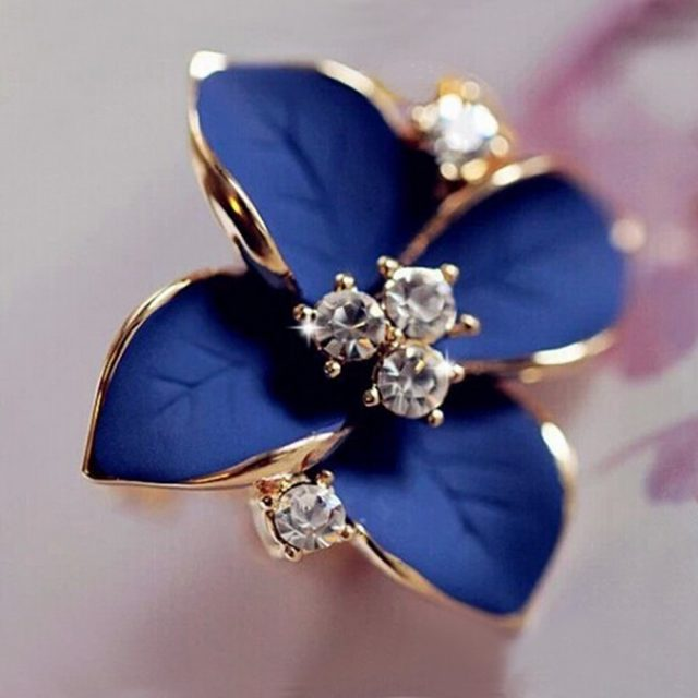 Blue Flower Gold Plated Earrings