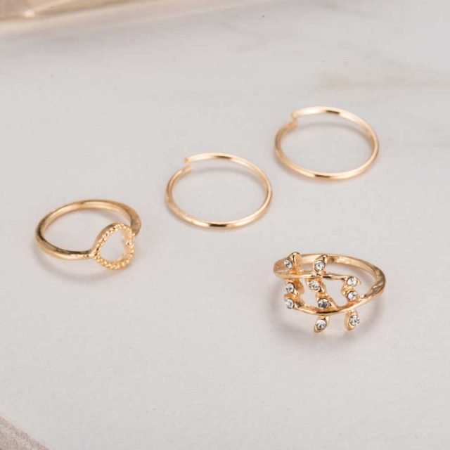 Midi Ring Set with Heart and Leaf Shape