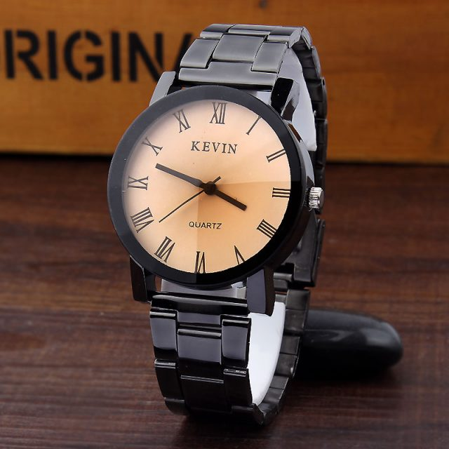 Black Round Dial Stainless Steel Watch