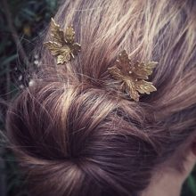 Vintage Gold Maple Leaf Hair Pin