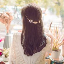 Golden Leaf Branch Hair Accessory