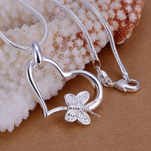 Sterling Silver Butterfly Heart Necklace