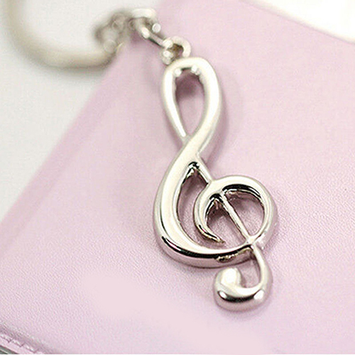 Silver Music Note Keychain
