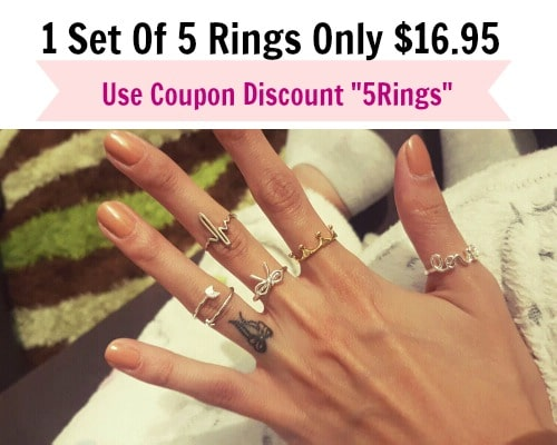 Arrow, Love Letter, Bowknot, Crown, Heart Beat Set Of Rings