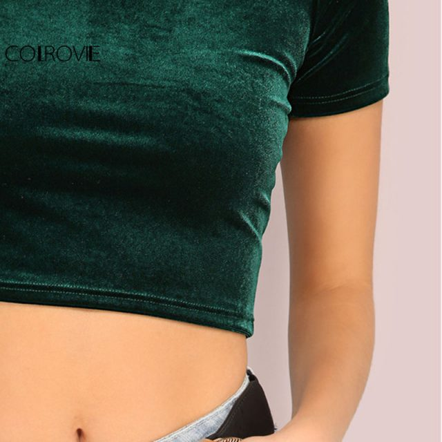 Velvet Green Crop Top