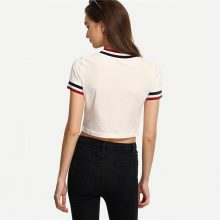 Partial Striped Crop Top