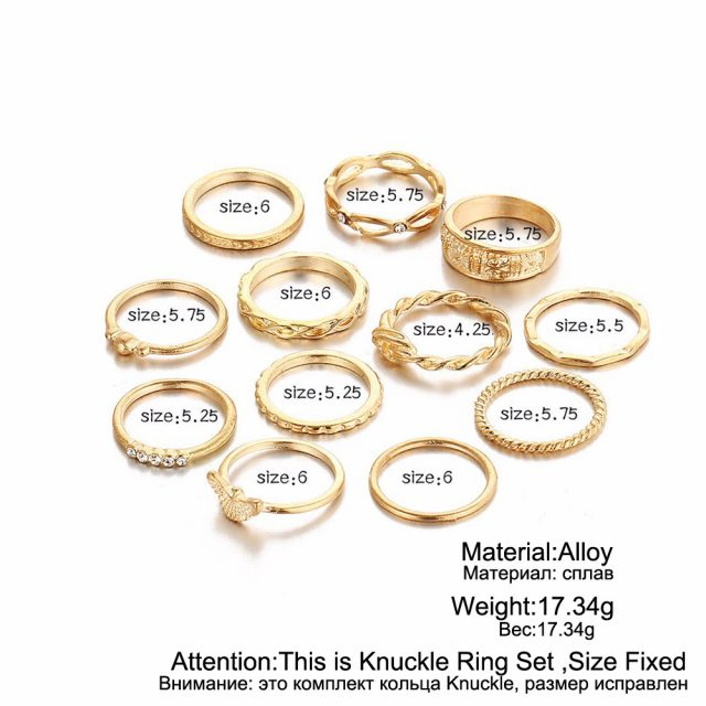 12 pc Charm Midi Finger Ring Set