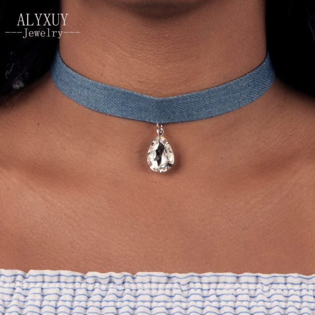 Denim choker with crystal pendant