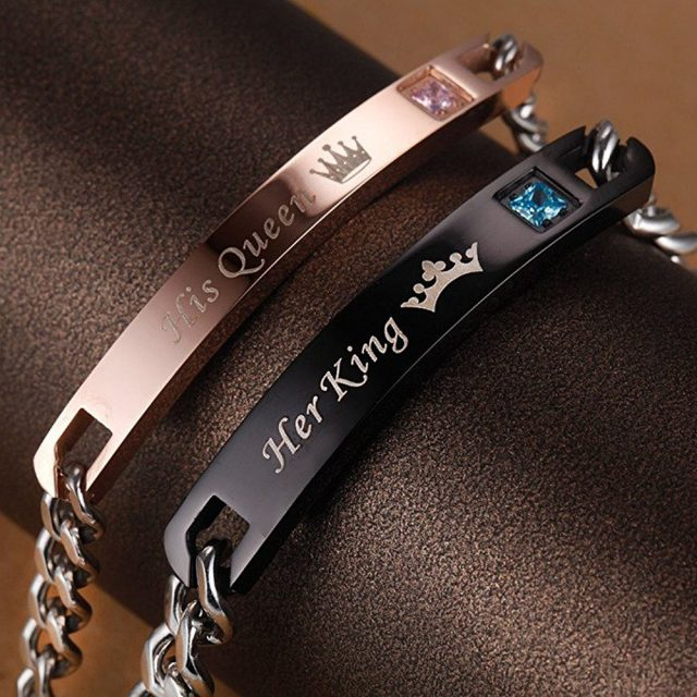 Her King His Queen Couple Bracelets (Engraved Name Can Be Added)