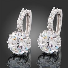 18k White Gold Clear Crystal Zircon Earrings