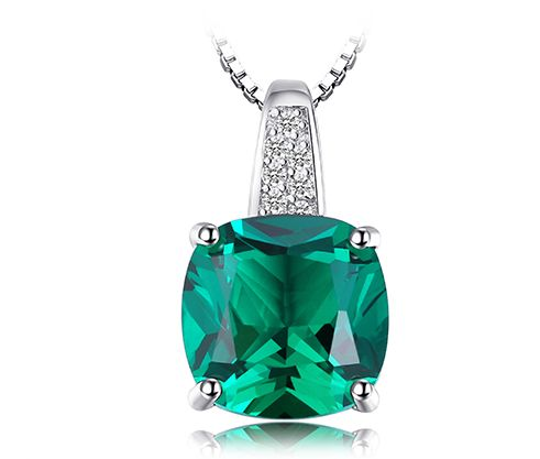 925 Sterling Silver Created Emerald