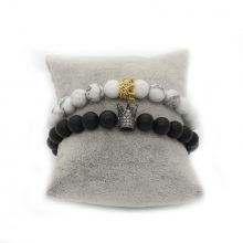Crown Her King, His Queen Lovers Distance Bracelets