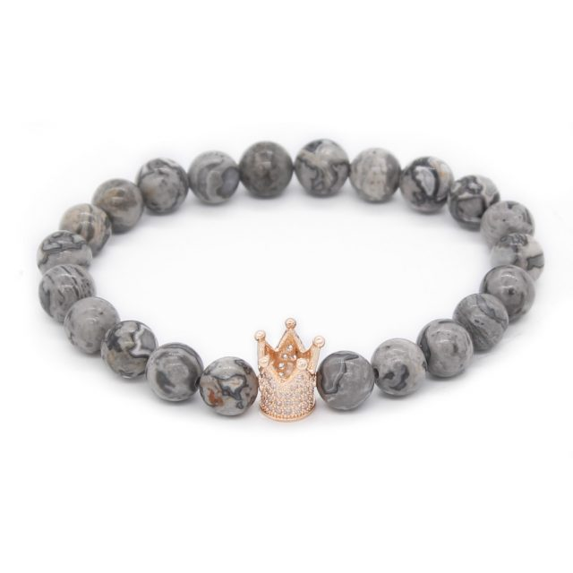 White And Grey Crown Her King, His Queen Lovers Distance Bracelets