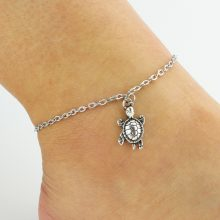 2018 Silver Turtle Chain Anklets