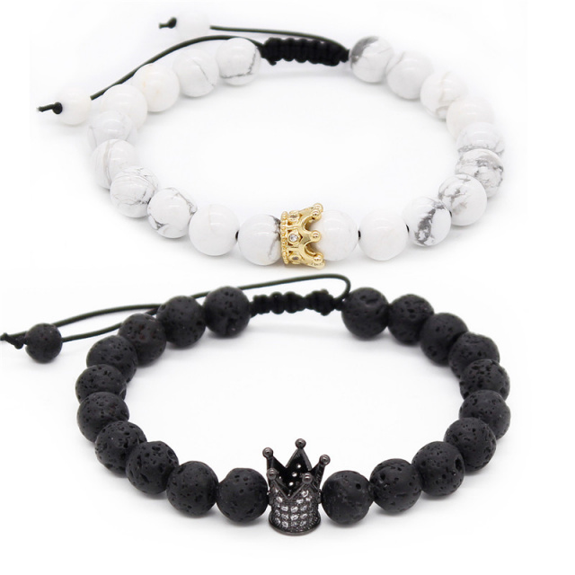 Adjustable Crown Her King, His Queen Couple Distance Bracelets