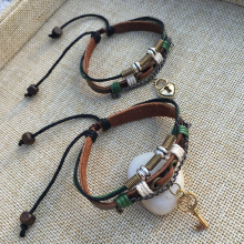 Key, Lock Couple Leather Bracelet