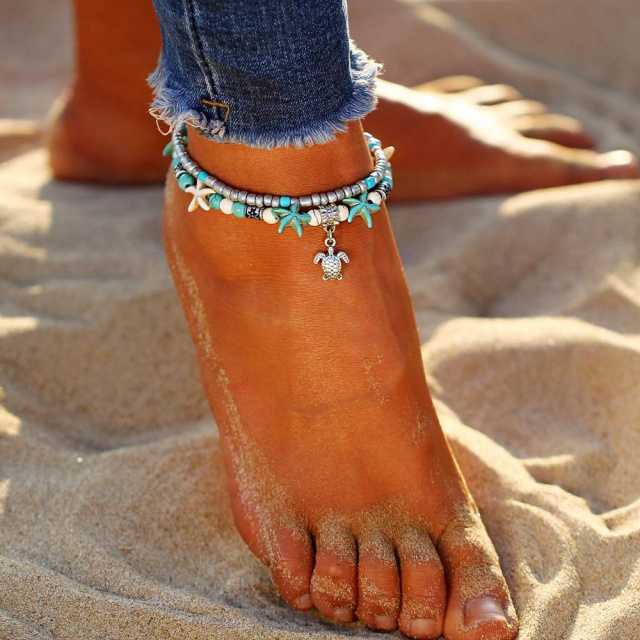 Turtle And Star Anklet