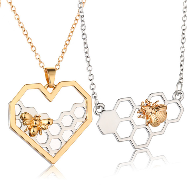 Bumble bee honeycomb necklace